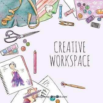 Espacio de trabajo creativo en acuarela