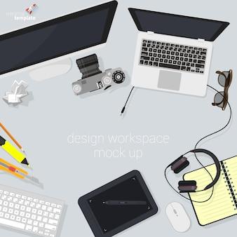 Espacio de trabajo del diseñador de estudio creativo de diseño plano. minimalista