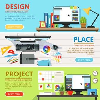 Espacio de trabajo para diseñadores de computadores y artistas gráficos. conjunto de banners horizontales.