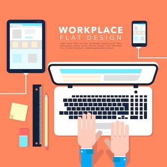 Espacio de trabajo con diseño plano