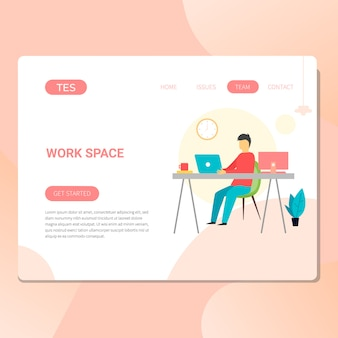 Espacio de trabajo e ilustración de oficina para web.