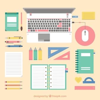 Espacio de trabajo con elementos coloridos