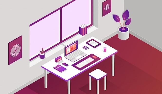 Espacio de trabajo habitación con elementos isométricos delante de la ventana.