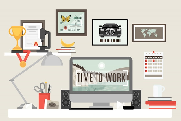 Espacio de trabajo de la habitación plana