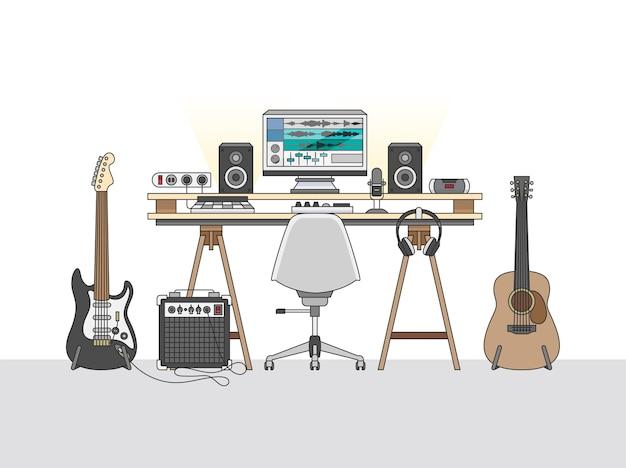 Espacio de trabajo de un ingeniero de audio o productor de música