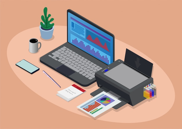 Espacio de trabajo isométrico con laptop e impresora.
