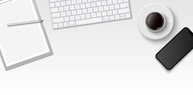 Espacio de trabajo mínimo endecha plana, escritorio de oficina de vista superior con teclado de computadora, portapapeles y taza de café sobre fondo de color blanco con espacio de copia