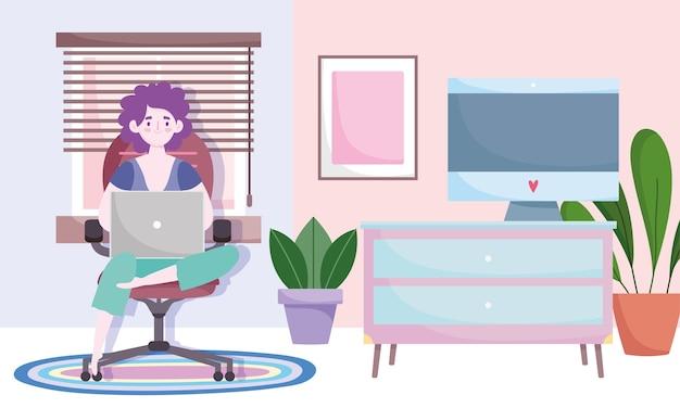 Espacio de trabajo de la oficina en casa, mujer usando laptop sentada en una silla, plantas de mesa de computadora de sala y ventana.