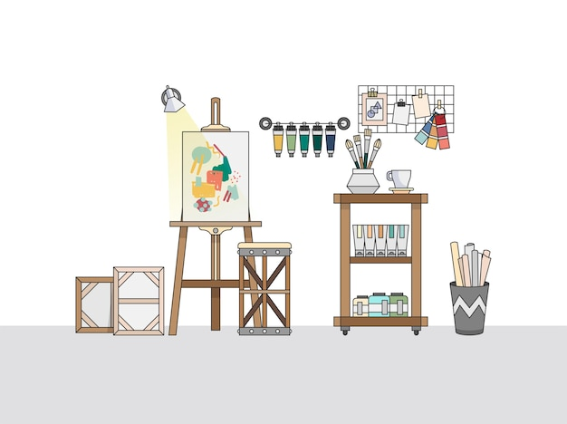 Espacio de trabajo de un pintor artístico