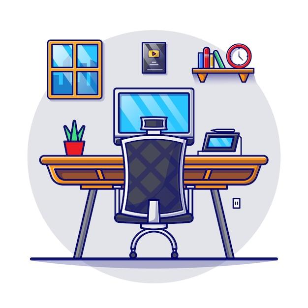 Espacio de trabajo para trabajar desde casa ilustración plana