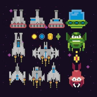 Espacio de videojuegos retro pixelado set iconos