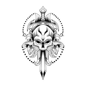 Espada de calavera y deja arte de ilustración vectorial para tatuaje