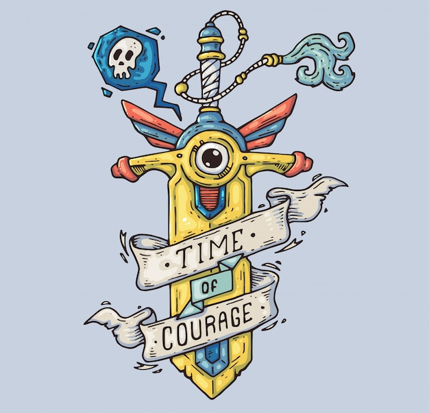 La espada magica. arma de hadas ilustración de dibujos animados carácter en el estilo gráfico moderno.