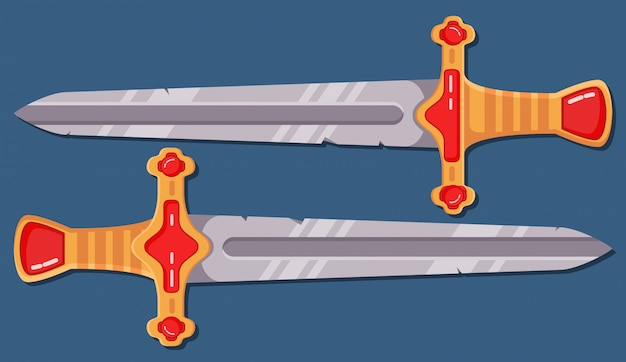 Espada medieval juego de arma de dibujos animados.