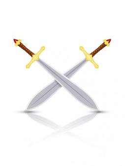 Espadas cruzadas con una reflexión sobre blanco