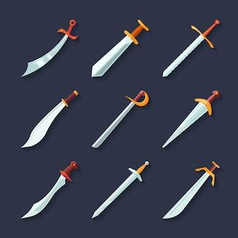 Espadas cuchillos dagas afiladas cuchillas plano icono conjunto aislado ilustración vectorial