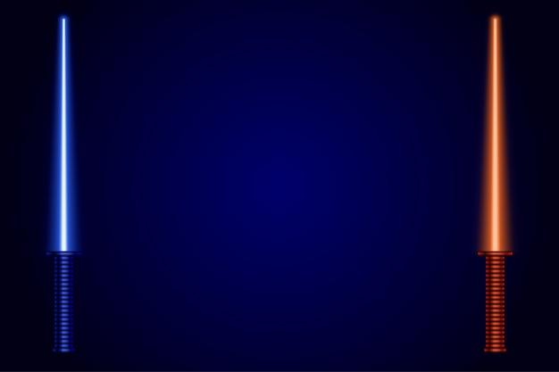Espadas de luz sobre fondo azul oscuro.