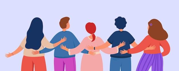 Espalda de amigos o equipo de colegas abrazándose