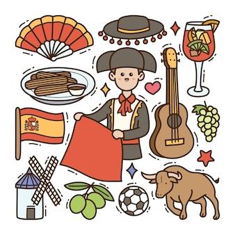 España doodle ilustración fondo aislado