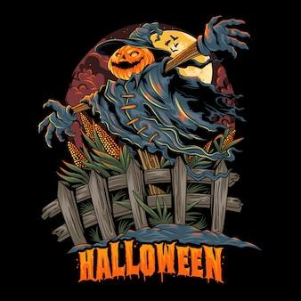 Espantapájaros con cabeza de calabaza de halloween, se ve espeluznante y colorido. ilustraciones de capas editables