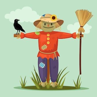 Espantapájaros sonriente con cuervo en jardín. diseño plano de dibujos animados