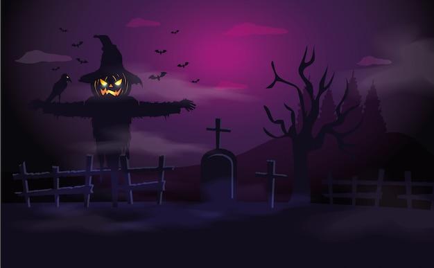 Espantapájaros con tumba en escena de halloween