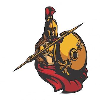 Esparta combatiente femenina vector