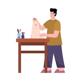 Especialista de peluquero cuidando de dibujos animados planos de perro aislado