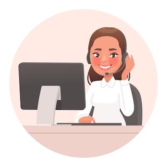 Especialista en servicio de soporte amigable para el operador teléfono de soporte o línea directa empleado del centro de llamadas