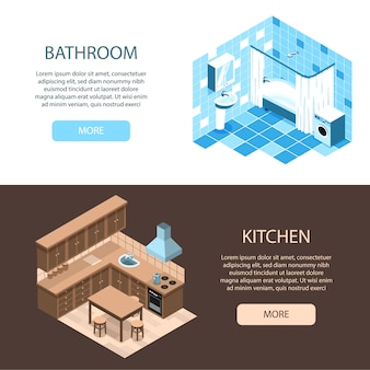Especialistas en diseño de interiores en línea 2 banners web isométricos horizontales con ideas de organización de cocina y baño