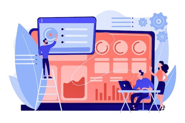 Los especialistas en redes sociales administran varias cuentas en una computadora portátil enorme. panel de control de redes sociales, interfaz de marketing en línea, ilustración del concepto de métricas de redes sociales