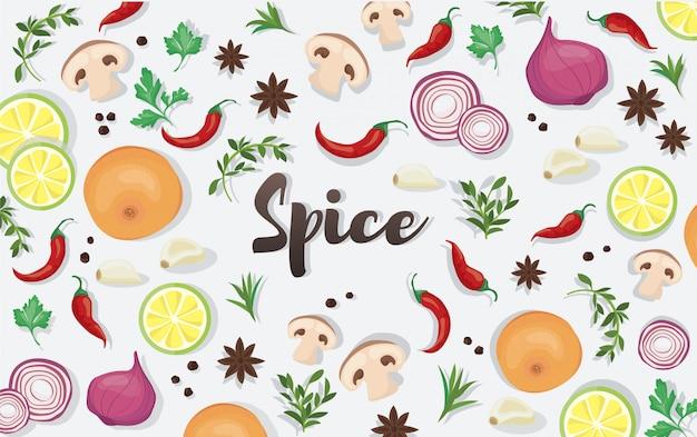 Especias y alimentos vegetales.