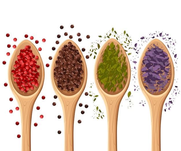Especias en las cucharas en elemento de ilustración fotorrealista blanco en ingredientes culinarios, de cocina, página de sitio web de decoración de paquetes y elemento de diseño de aplicaciones móviles.
