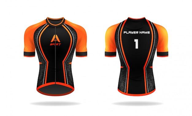 Especificación ciclismo jersey plantilla. simulacro sport t shirt cuello redondo uniforme para ropa de bicicleta. diseño de ilustración vectorial, capas de trabajo separadas.
