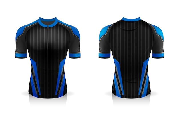 Especificación plantilla de maillot de ciclismo. maqueta camiseta deportiva uniforme de cuello redondo