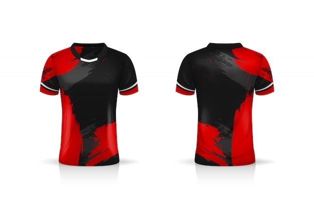 Especificación soccer sport, esport gaming t shirt jersey template. uniforme ilustración