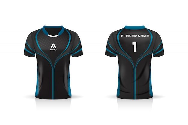 Especificación soccer sport, esport gaming t shirt jersey template.