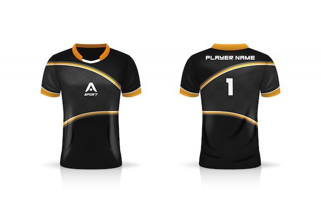 Especificación soccer sport, esports gaming t shirt jersey plantilla. uniforme ilustración