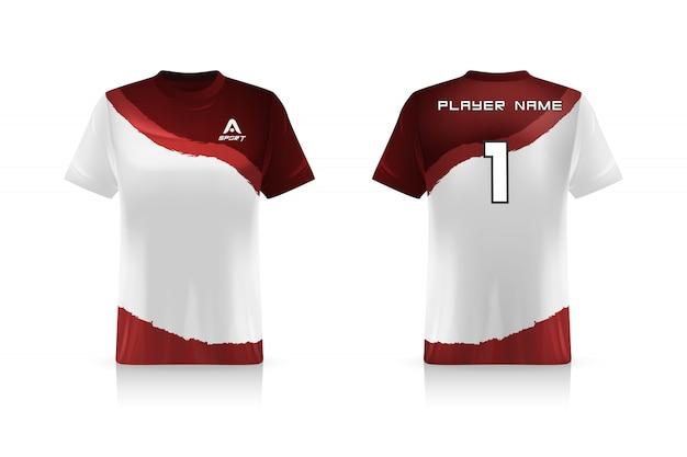 Especificación soccer sport, esports gaming t shirt jersey plantilla. uniforme