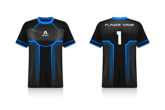 Especificación soccer sport, esports gaming t shirt jersey template. uniforme.