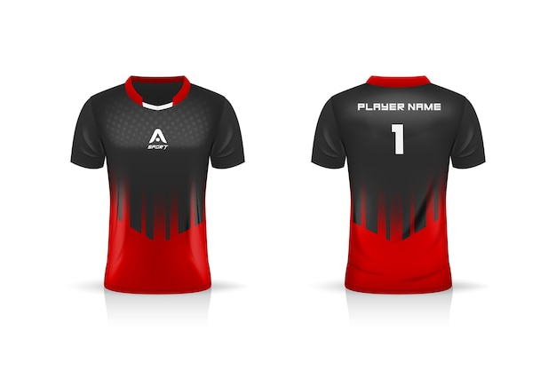 Especificación soccer sport, esports gaming t shirt jersey template.