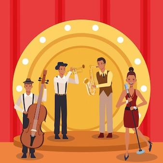 Espectáculo de banda de música jazz en el escenario