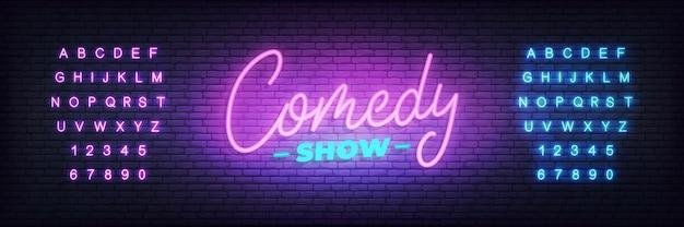 Espectáculo de comedia de neón. letrero de neón brillante de letras