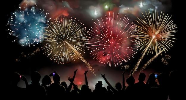 Espectáculo de fuegos artificiales, celebración, gente de vacaciones, fondo