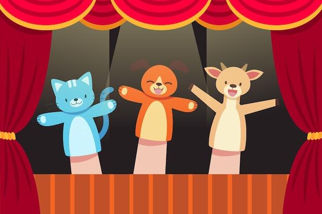 Espectáculo ilustrado de títeres para niños de fondo.