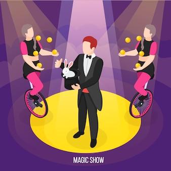 Espectáculo de magia de artistas callejeros, composición isométrica, conjurador durante trucos y chicas malabaristas en monociclos