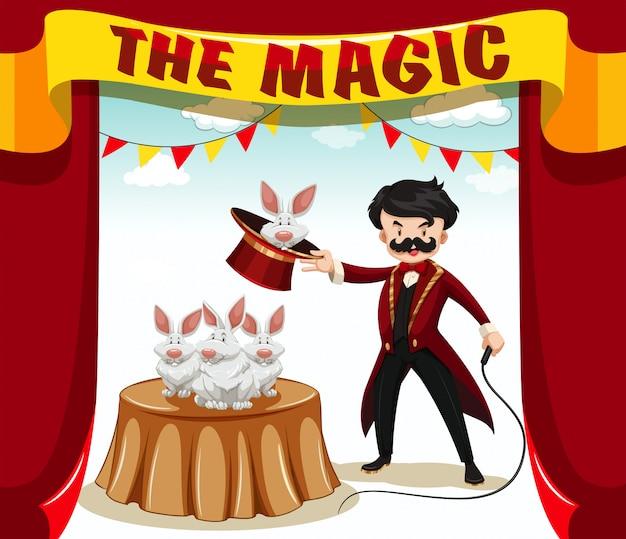 Espectáculo de magia con mago y conejos.