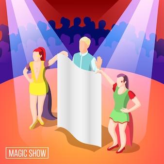 Espectáculo mágico ilusionista de fondo isométrico detrás de la cortina bajo rayos de luz en el escenario con espectadores