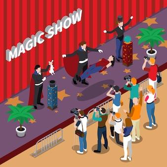Espectáculo mágico ilustración isométrica