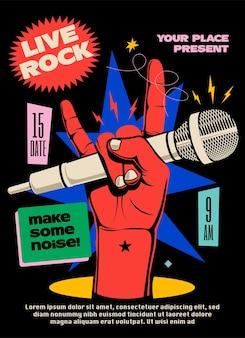 Espectáculo de música rock en vivo o cartel de concierto o festival o folleto o plantilla de diseño de banner con mano levantada roja con micrófono mostrando gesto de cuernos de diablo sobre fondo negro